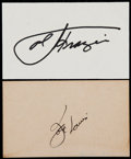 Boxing Collectibles:Autographs, Joe Frazier and Joe Louis Signed Index Cards (2)....