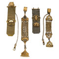 "Timepieces:Watch Chains & Fobs, Watch Fobs: all are gold filled, two have belt clips and are 6 1/2""and 5"", two are mesh and are 3"" and 5"". ... (Total: 4 Items)"