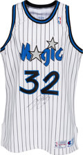Basketball Collectibles:Uniforms, 1992-93 Shaquille O'Neal Game Worn Orlando Magic Jersey with Letterfrom Personal Assistant. ...