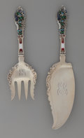Silver Flatware, American:Dominick & Haff, A Dominick & Haff Partial Gilt and Enameled Silver Fish ServingSet, New York, New York, circa 1885. Marks: (rectangle-circl...