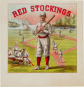 Baseball Collectibles:Others, 1884 Red Stockings Cigar Box Label....