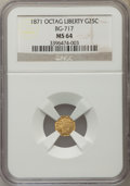 California Fractional Gold: , 1871 25C Liberty Octagonal 25 Cents, BG-717, R.3, MS64 NGC. NGCCensus: (13/23). PCGS Population (63/75). ...