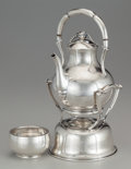 Silver Holloware, Mexican:Holloware, A Codan Blossom-Style Mexican Silver Hot Water Kettle on Stand and Waste Bowl, Mexico City, Mexico, circa 1945. Marks: COD... (Total: 4 Items)