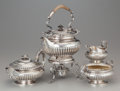 Silver Holloware, British:Holloware, A Three Piece Robert Hennell Silver Tea Service with AssociatedWilliam Gibson & John Lawrence Langman Kettle on Stand, Lon...(Total: 4 Items)