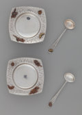 Silver Holloware, American:Open Salts, A Pair of Dominick & Haff Mixed Metal Open Salts and Spoons,New York, New York, circa 1880. Marks: STERLING,(oval-circ...