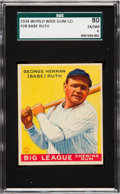 Baseball Cards:Singles (1930-1939), 1934 World Wide Gum Babe Ruth #28 SGC 80 EX/NM 6 - Pop Two, NoneHigher. ...