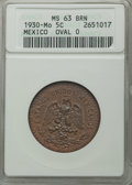 Mexico, Mexico: Republic 5 Centavos 1930 MS63 Red and Brown ANACS,...