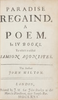 Books:Literature Pre-1900, John Milton. Paradise Regain'd. A Poem in IV Books. To which is added Samson Agonistes. London: Printed by J...