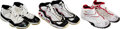 Basketball Collectibles:Others, 1990's Michael Jordan, Scottie Pippen & Dennis Rodman Game Worn Chicago Bulls Dual-Signed Shoes. ...