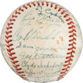 Baseball Collectibles:Balls, 1949 Brooklyn Dodgers Team Signed Baseball with President Hoover, Ty Cobb....