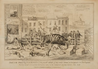 David Claypoole Johnston, artist (1798 - 1865). Lithograph Print Entitled, Death on the Striped Pig