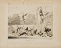David Claypoole Johnston, artist (1798 - 1865). Lithograph Print Entitled, Gymnastics. <