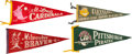 Baseball Collectibles:Others, 1950's Major League Team Pennants Lot of 4. ...