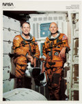 Autographs:Celebrities, Space Shuttle Columbia (STS-3) Crew-Signed Spacesuit Color Photo. ...