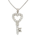 Estate Jewelry:Necklaces, Diamond, Platinum Pendant-Necklace. ...