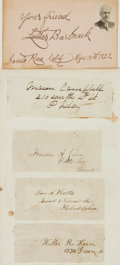 Autographs:Authors, Luther Burbank, botanist (1849 - 1926). Ink Inscribed Card, Dated March 15, 1922. ...