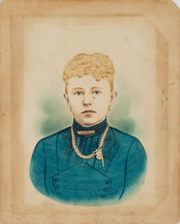 [Photography]. Hand-Colored Photographic Portrait of Unidentified Woman. [n.d., circa 1870]