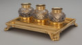 Silver Holloware, British:Holloware, A William Stroud George III Gilt Silver and Cut-Glass Inkwell Set,London, England, circa 1810. Marks: (lion passant), (duty...(Total: 4 )
