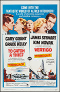 "Movie Posters:Hitchcock, To Catch a Thief/Vertigo Combo (Paramount, R-1963). One Sheet (27"" X 41""). Hitchcock.. ..."