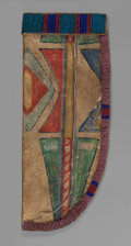 American Indian Art:Beadwork and Quillwork, A Crow Painted Parfleche Knife Sheath. c. 1880...
