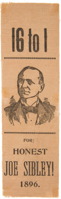 [William Jennings Bryan]: 1896 Sibley Presidential Hopeful Ribbon