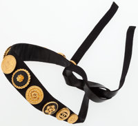 """Chanel Black Velvet Choker with Gold Hardware Very Good Condition 32"""" Width x 1"""" Height"""