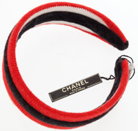 "Chanel Red, Black, & White Cotton Knit Headband Very Good Condition 13"" Length x 1"" Width"