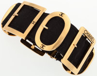 """Chanel Black Elastic Canvas Buckle Choker Necklace with Gold Hardware Good Condition 2"""" Width x 1"""