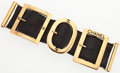 "Luxury Accessories:Accessories, Chanel Black Leather Buckles Bracelet with Gold Hardware. Good Condition. 7"" Width x 2"" Height. ..."