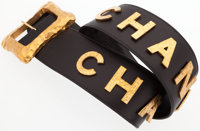 "Chanel Black Leather & Hammered Gold Belt Excellent Condition 30"" Length x 2.5"" Height"