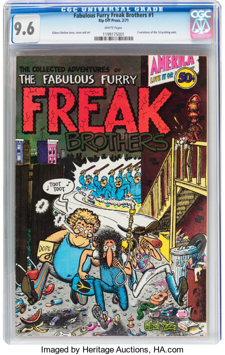 The Fabulous Furry Freak Brothers #1 (Rip Off Press, 1971) CGC NM+ 9.6 White pages....