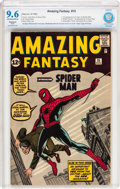 Silver Age (1956-1969):Superhero, Amazing Fantasy #15 (Marvel, 1962) CBCS Restored NM+ 9.6 SlightOff-white to white pages....