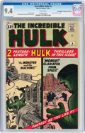 Silver Age (1956-1969):Superhero, The Incredible Hulk #4 Don/Maggie Thompson Collection pedigree(Marvel, 1962) CGC NM 9.4 White pages....