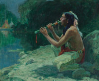 Eanger Irving Couse (American, 1866-1936) The Call of the Flute, 1922 Oil on canvas 24 x 29 inche