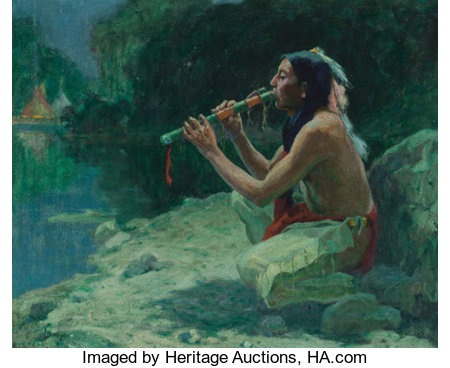 Eanger Irving Couse (American, 1866-1936)The Call of the Flute, 1922Oil on canvas24 x 29 inches (61.0 x 73.7 cm)...