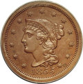 Proof Large Cents: , 1855 1C Slanting 5s PR63 Brown PCGS. N-10, R.5 as a proof. A tinydie chip on the left edge of the coronet identifies the N...