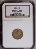 Proof Indian Cents: , 1862 1C PR64 Cameo NGC. This well struck Civil War near-Gem offers nicely mirrored fields and medium apricot patina. Copper...