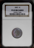Proof Indian Cents: , 1865 1C PR65 Red and Brown Cameo NGC. Plain 5. This needle-sharp Gem displays deep cherry-red and powder-blue iridescence. ...