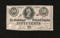 Confederate Notes:1863 Issues, T63 50 Cents 1863. Light handling graces this 1st Series note fromplate position E....