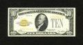 Small Size:Gold Certificates, Fr. 2400 $10 1928 Gold Certificate. Very Fine.. A partial paper clip rust outline is observed at top center of this $10 Gold...