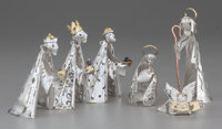 A Set of Six Emilia Castillo Silver and Mixed Metal Nativity Ornaments, Taxco, Mexico, 2015 Marks: STERLING, EMILI