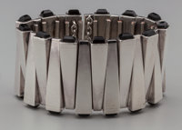 An Antonio Pineda Silver and Obsidian Matchstick Bracelet, Taxco, Mexico, circa 1960