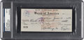 Baseball Collectibles:Others, 1942 Tony Lazzeri Signed Check, PSA/DNA Mint 9. ...