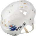 Hockey Collectibles:Equipment, 1980s Wayne Gretzky Game Worn, Signed Edmonton Oilers Helmet....