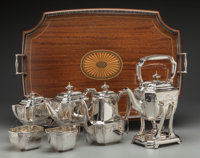 A Seven Piece Tiffany & Co. Hampton Pattern Silver Coffee and Tea Service with Tray