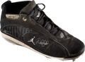 Baseball Collectibles:Others, 2007 Derek Jeter Game Worn Signed Air Jordan Cleat with JeterLetter. ...