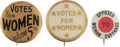 Political:Pinback Buttons (1896-present), Women's Suffrage: Three Buttons Pro and Con.... (Total: 3 Items)