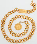 "Luxury Accessories:Accessories, Chanel Gold Chain Belt with Circle Charm. Very Good Condition.32"" Length. ..."