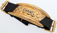 "Chanel Black Leather Belt with Gold Hardware Very Good Condition 2"" Width x 34"" Length"