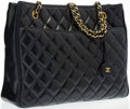"Luxury Accessories:Accessories, Chanel Navy Blue Quilted Lambskin Tote Bag with Gold Hardware.Very Good to Excellent Condition. 12"" Width x 9""Height..."
